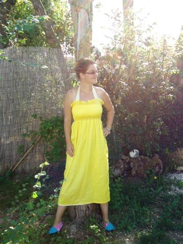 soleil, ficu, gilet, granny, freecolors, jaune, robe, smoke, couture, crochet, coquelicot
